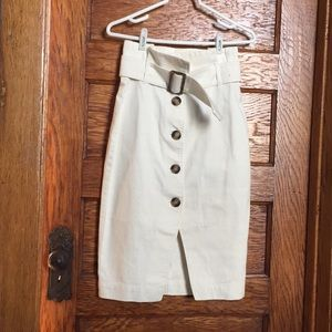 White denim high waisted paper bag skirt